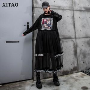 XITAO Tide Mesh Patchwork Midi Dress Letter Print O Neck Long Sleeve Fashion Loose Casual Plus Size Dress Women 2020 ZYQ1947