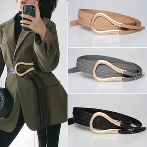 Мода Женщины Золото Металлические пояса изогнутый Большой подкова U пряжка микрофибры кожа двойной пояс для пальто платье свитер ps0582