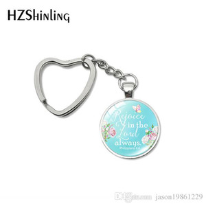 Fashion Bible Verse Quote Heart Key Rings Glass Cabochon Handmade Women Men Bag Car Holder Keychain Fashion Accessories