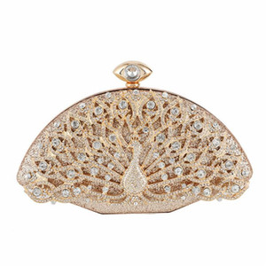 ABERA 2020 quality women diamond evening bags peacock bling dinner purse mini phone wallets dress bags drop shipping MN1530