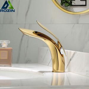 Luxury Golden Bassin-Hahn-Rose Gold Badezimmer-Hahn-Wasserfall Kalt- und Warmwasserhahn Einzel-Loch Waschtischarmatur Mischbatterien