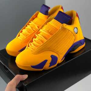 2020 Yeni Jumpman 14 14s XIV Mens Üniversitesi Altın Sarı Mor Basketbol Ayakkabı Adam Spor Spor ayakkabılar Eğitmenler des Chaussures Zapatos Boyut 13
