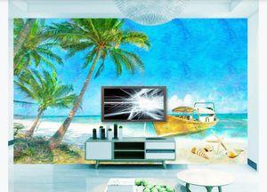 Large Custom 3D Mural Wallpaper Seaside wooden boat shell oil painting landscape Living room Tv background wall Paper Home Decor