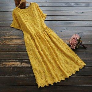 Mori Girl 2020 Vintage Women Flowers Dress Cotton New Summer Solid Color O neck Elegant Fashion White Loose Robe YoYiKamomo