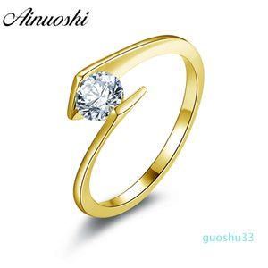 luxury- 10k Solid Yellow Gold Women Wedding Ring Solitaire Round Cut Sona Simulated Diamond Jewelry Twisted Engagement Rings Y19052301