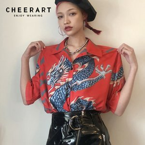 Cheerart Harajuku Blouse Women Short Sleeve Dragon Shirt Red Blue Summer Tops And Blouses Femme Streetwear Japanese Y200622