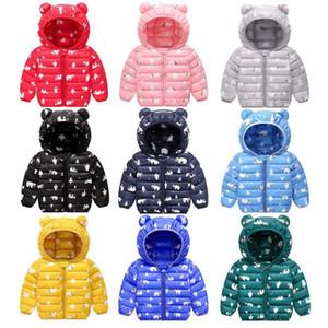 Kids Down Hoodies Coats Cotton Padded Bear Toddler Boys Jackets Designer Girls Snow Coat Warm Children Outwear Winter Kids Clothing DW4948