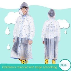 lxuyc Jungen Kinder transparent Schulranzen langen Regenmantel Primary School Studenten Poncho und Tasche Mantelmantel breiten Gürtel Kinder Mitte s