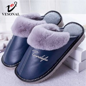VESONAL salle intérieure pantoufles d'hiver chaussures hommes chaud unisexe avec Slipers de velours en peluche de fourrure mâle pour les traverses de l'homme de grande taille 46 47