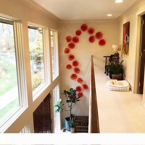 Wholesale Price Handblown Art Glass Red Orange Murano Glass Decorative Plates Tangerine for Hotel Villa Library House