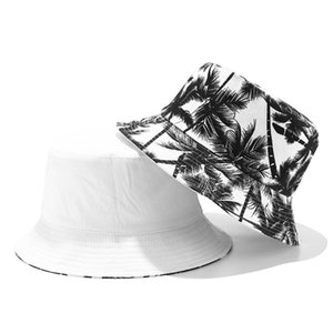 Canvas Fisherman Hiking And Camping Camping & Hiking Hat Unisex Printed Coconut Tree DoubleSided Wearing Cap Outdoor Travel Visor Buck BL3a#