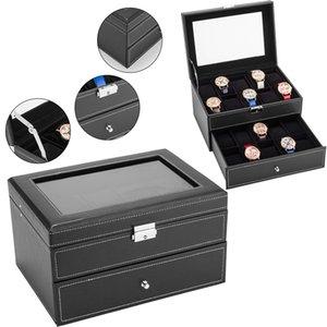 High grade leather watch storage box double layer jewelry box ring earring multi function jewelry storage box watch boxs