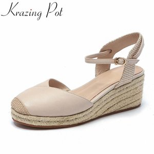 Krazing pot new arrival sheep skin round toe high heels straw wedges women shoes buckle strap shallow summer sandals women L16