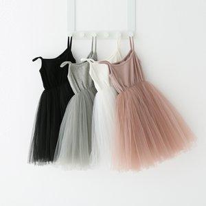 vestido Bebés Meninas Lace Tulle Sling Crianças Suspender malha Tutu Princesa Vestidos 2020 Verão Boutique crianças Roupa 4 cores