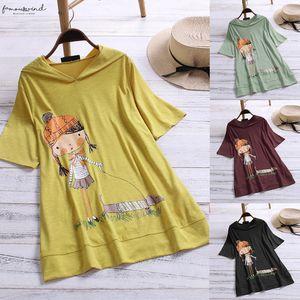 Women Shirts Cute Doll Cartoon Print Hooded Short Sleeve Plus Size Top Temperament Elegant Summer Blouse Shirts