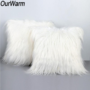 OurWarm Christmas Decoration for Home White Soft Plush Pillow Case 45X45CM One Side Faux Fur Cushion Covers New Year Presents