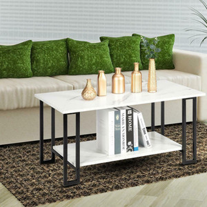 Marble Print Coffee Table 2-Tier Rectangular Cocktail Tea Table Accent Furniture