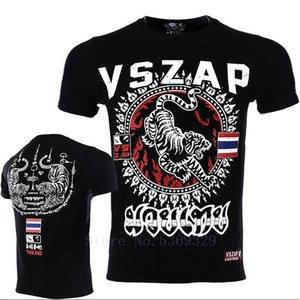 Printed Men New VSZAP Thai Tiger Muay Thai Men T Shirt Broadcast Elastic Training Suit Sporting Black