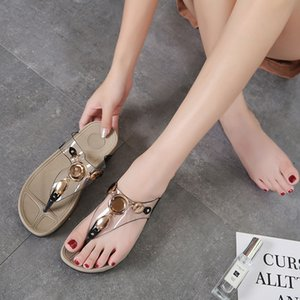 Xibeilove New clip foot flip flops casual rhinestone metal thick bottom wedge comfortable muffin sandals and slippers