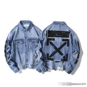Mens luxury denim jacket tide street hip hop basic arrow letter graffiti OW couple fashion coat
