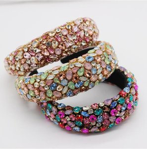 Gorgeous Baroque Hair Jewelry Bohemian Padded Crystal Crown Headbands Exaggerated Rhinestone Tiara Hairbands For Women Wedding