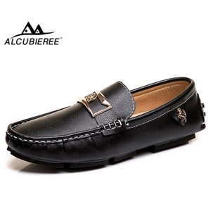 ALCUBIEREE Brand Mens Fashion Mental Horse Loafers Summer Man Casual Driving Shoes Slip-on Flat Moccasins Boat Shoes Big Size 48
