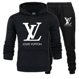 LòuisVuittòn Mens Hooded Sets Fashion Sweatshirt Tracksuit Men 2020 Hoodie + Sweartpants Two Pieces Male Long Sleeve Sportswear Set