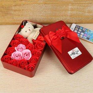 Valentine Gift Box 15pcs / Box Rose Flower Bath Sabonete Perfumado Bear Doll Ferro