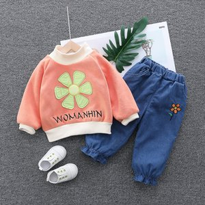 Girls Clothes Sets Spring Autumn Children Fashion Cotton Thick Velvet Pullover Tops Pants 2pcs Tracksuits for Baby Girls Outfits