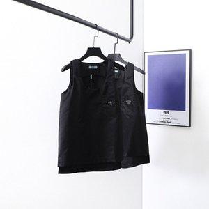 20ss nuevo diseñador de la marca de lujo de metal PRD logotipos triángulo chaleco transpirable camisetas Hombres Mujeres blusas Streetwear al aire libre ocasional camiseta 7,12