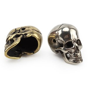 Brass Skull Hiking And Camping Camping & Hiking Knife Beads Umbrella Rope Bead Outdoor Vintage Skull Paracord BeadsBpgD#