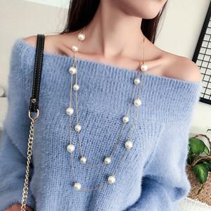 Новый Длинный двойной слой Имитация Жемчужное ожерелье женщин свитер цепи ожерелье женщина Collares Заявление Jewlery Оптовая 2019