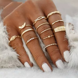 Charm Gold Color Finger Ring Set For Women Vintage Boho Knuckle Party Rings Punk Jewelry Gift For Girl