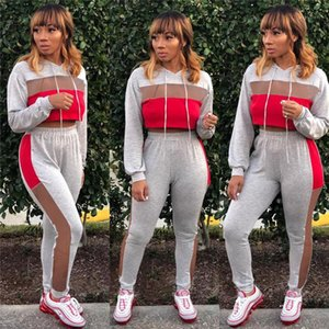 Patchwork Womens Designer Tracksuits Fashion Contrast Color Long Sleeve Hooded Crop Top 2pcs Womens Two Piece Pants with Drawstring Mesh