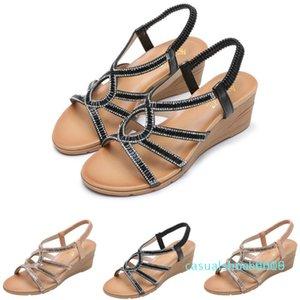 mulher sapatos da moda sandálias romanas Casual Cunhas Sandals Praia Chinelos mulheres sandalia feminina zapatos de mujer c09 L16