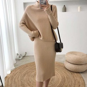 Elegant Tracksuit Women 2 Two Piece Set Outfits Sweater Suit Pullover Casual Cotton Matching Sets Winter Dress Suit Knitted V917