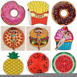 Telo mare Frutta poliestere Beach Materasso personalizzata Bikni Cover Up Tovaglia Yoga Mats Donut Pizza Ananas 13 Designs LJJA5790