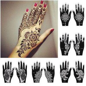 2pcs / Set Professional Henna Stencil Art temporaire Body Tattoo main Modèle d'autocollant de mariage Outil Inde Fleur Tattoo Stencil T200730