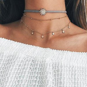 Geometric Star Choker Necklace Gold Color Necklaces Pendants Stainless Steel Necklace Women Chocker