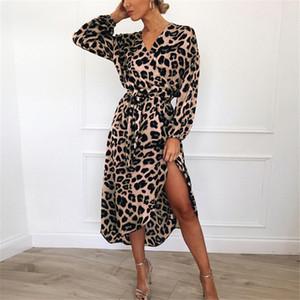 Abito in chiffon S-XXL manica lunga 2020 di moda abiti lunghi delle signore delle donne leopardo con scollo a V Lace-Up casuale della camicia pannello esterno della festa Boutique Panno LY7272