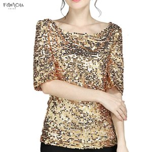 Klv Fashion Womens Sequins Flash T Shirt Cocktail Party Casual Shirt Oversized Plus Size 5Xl Shirt Short V Neck