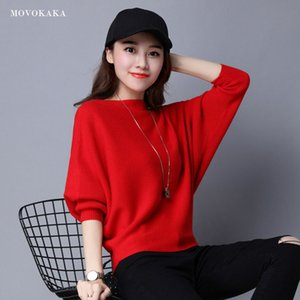 Sweaters Fashion 2020 Women Sweater Woman Pullover Knitted Female Vintage Ladies Winter Bat Sleeve Sweater Women Red Pullover