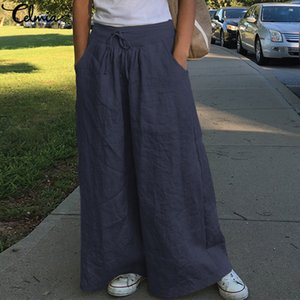 Celmia Moda pierna ancha pantalones de las mujeres de cintura alta de algodón de la vendimia Pantalones Palazzo flojo ocasional sólido Pantalon Femme más el tamaño S-5XL
