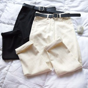 Spring 2020 Loose Casual White Soft Jeans Women's High Waisted Harem Pants With Belt High Street Girl Boyfriend Ladies Denim