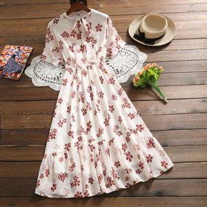 Banulin Mori Girl Floral Print Pleated Dress New Summer Flower Vintage Vestidos Women's V-Neck Bow Tie Long Chiffon Dresses