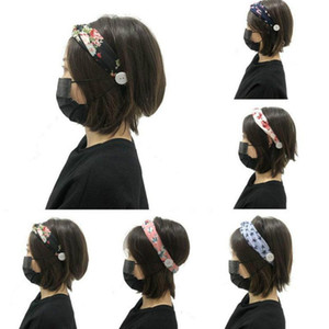 Women Hair Accessories Button Hair Band Stretch Sports Yoga Elastic Cross Printed Color Knitted Headband DDA280