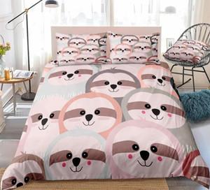 Desenhos animados Sloth edredon cobrir Set Cinzento Rosa Animais de cama Crianças Meninos Meninas bonito Sloth Rainha colcha Jogo de Cama Dropship colorido