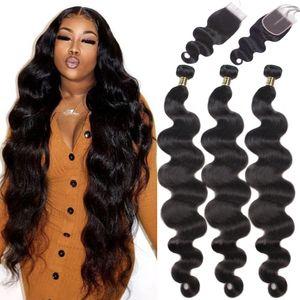 Объемная волна 8- 28 30 32 40 дюймов бразильские волосы 3 4 Плетение Связки С 4X4 Lace Closure Фронтальная Remy человеческих волос