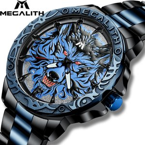 Megalith hombres del reloj de la manera de la cabeza del lobo 2020 en relieve reloj de los hombres del deporte del reloj impermeable del acero inoxidable Relogio Masculino 8207 CX200804