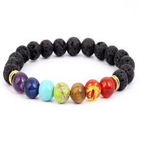 Black Lava Volcanic stone 7 Chakra Bracelet,Natural Stone Yoga Bracelet,Healing Reiki Prayer Balance Buddha Beads Bracelet . a236